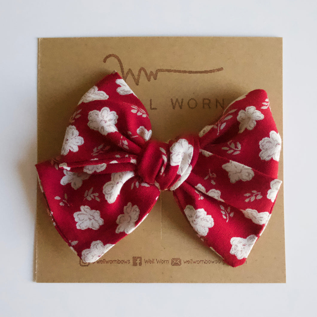 Red & White Floral Bow-B2G1HALFOFF