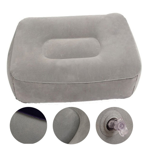 Image of Inflatable Travel Foot Rest Pillow for use on Airplane Train Car With Storage Bag & Dust Cover - 3 or 1 Layer