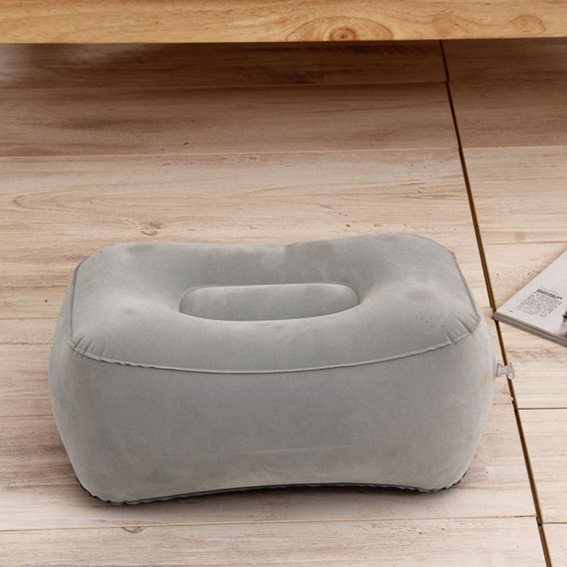 Inflatable Travel Foot Rest Pillow for use on Airplane Train Car With Storage Bag & Dust Cover - 3 or 1 Layer