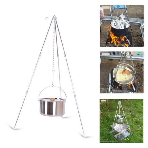 Image of Aluminum Alloy Tripod Outdoor Portable Folding Tripod Hanging Pot Campfire Grill Stand