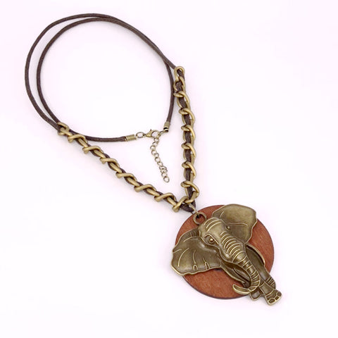 Image of Wooden Antique Elephant Chain Necklace