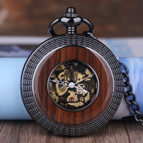 Antique Wooden Bronze Mechanical Pocket Watch