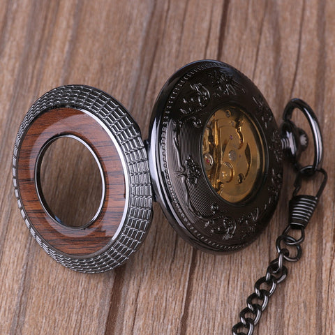 Image of Antique Wooden Bronze Mechanical Pocket Watch