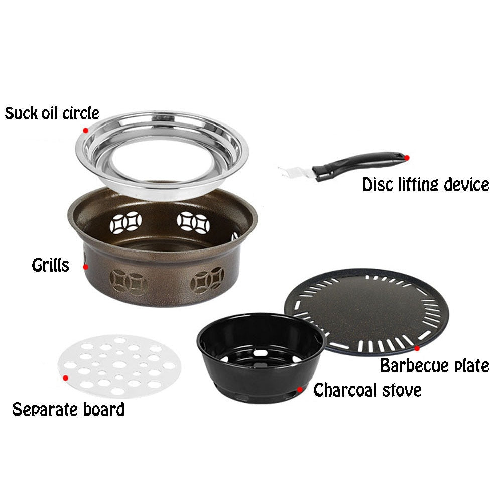 Smokeless Indoor Stainless Steel Charcoal Portable Grill