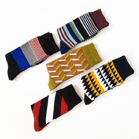 Casual Dots/Stripes Cotton Crew Sock