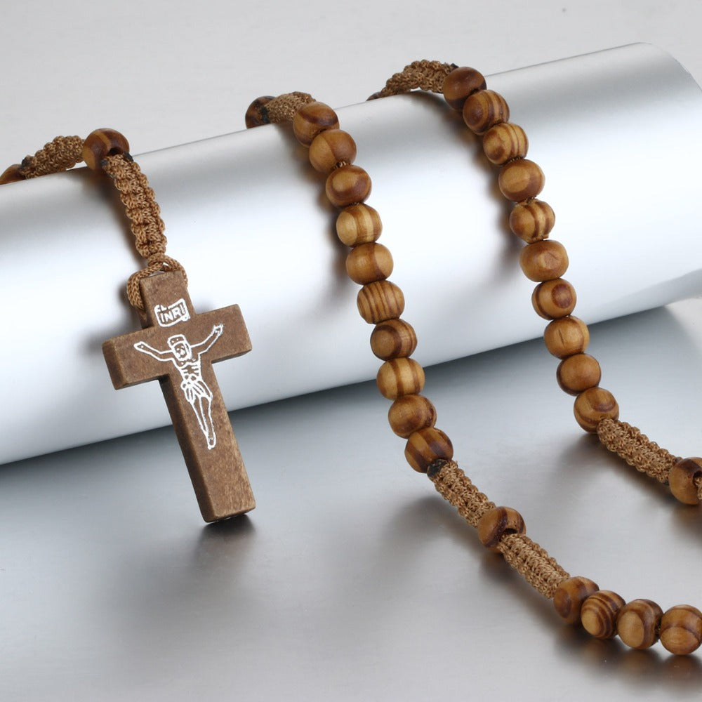 Catholic Wooden Cross Necklace