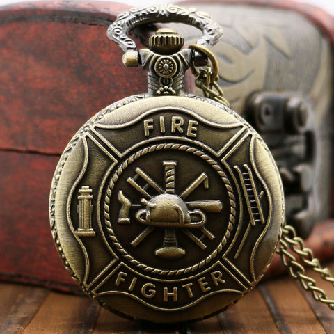 Fire Fighter Bronze Quartz Pocket Watch