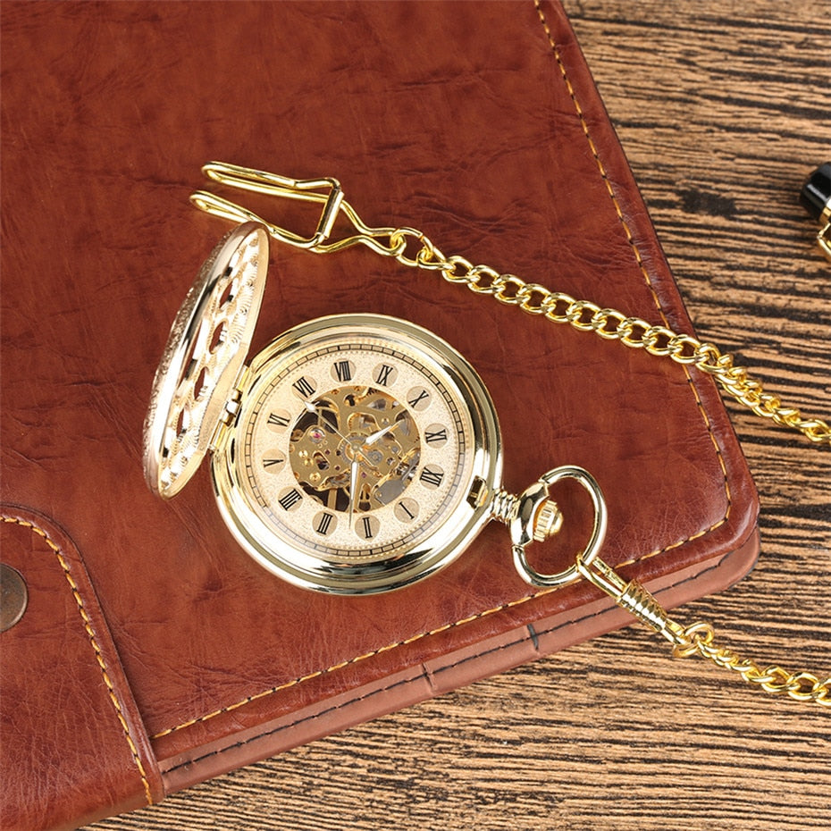 Gold Mechanical Vintage Look Pocket Watch with Classical Design