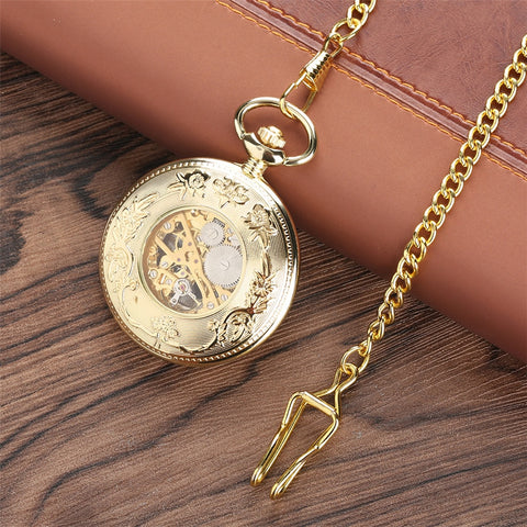 Image of Gold Mechanical Vintage Look Pocket Watch with Classical Design