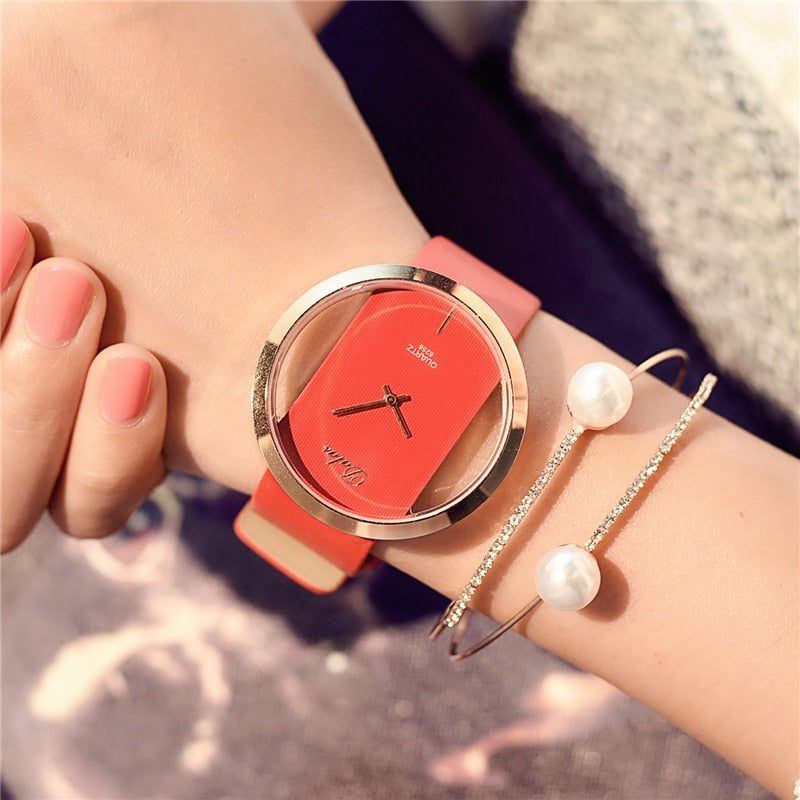 Fashion Watch Luxury Leather Skeleton Strap Watch in Black White Red Brown