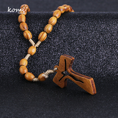Image of Wooden Beads Cross Pendant Necklace