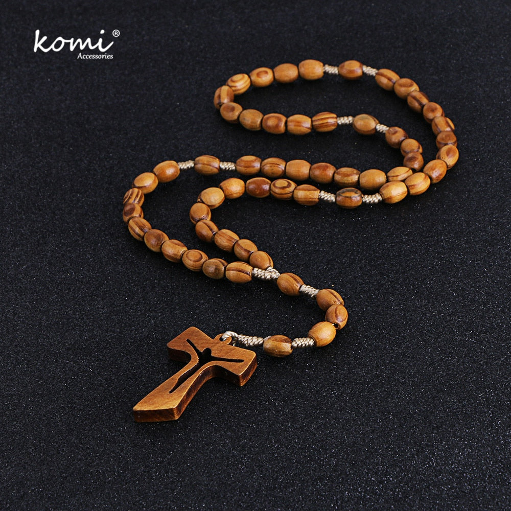 Wooden Beads Cross Pendant Necklace