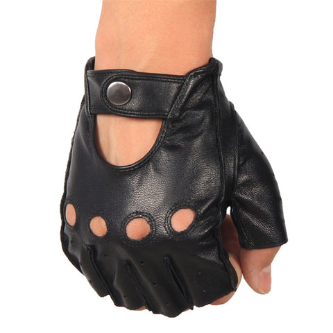 Image of Half Finger Leather Gloves