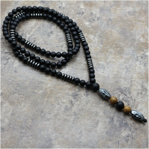 Image of Natural Hematite Carving Beaded Necklace