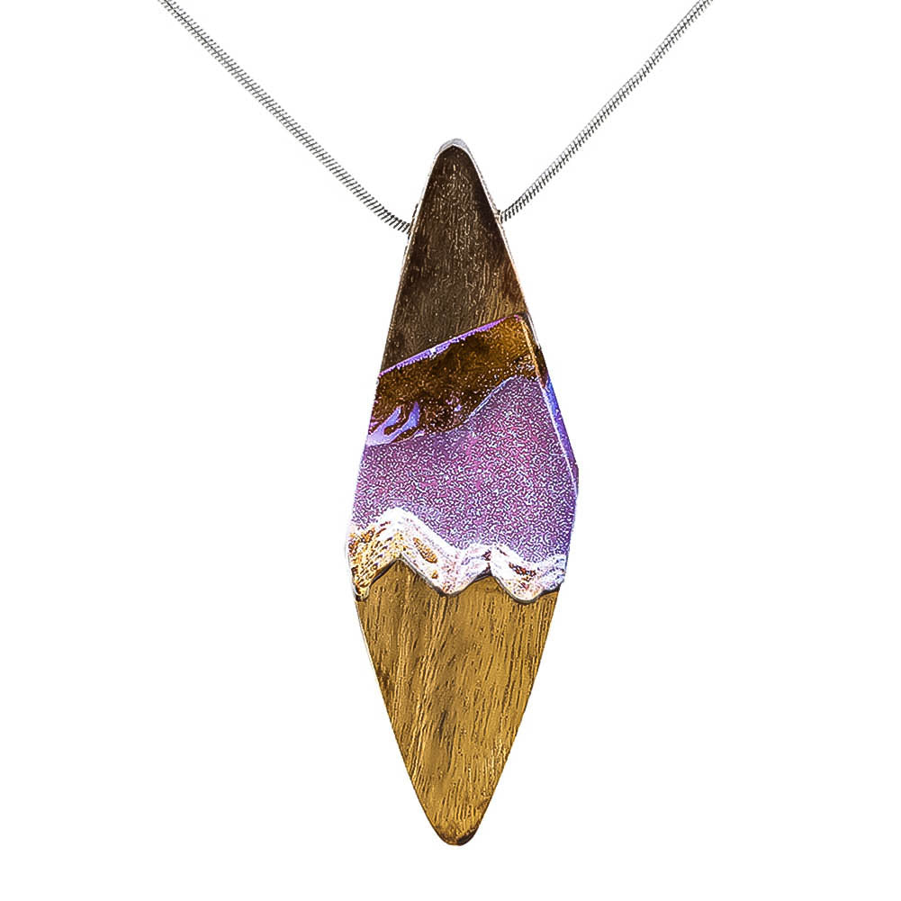 Wood Resin Fashion Pendant Necklace