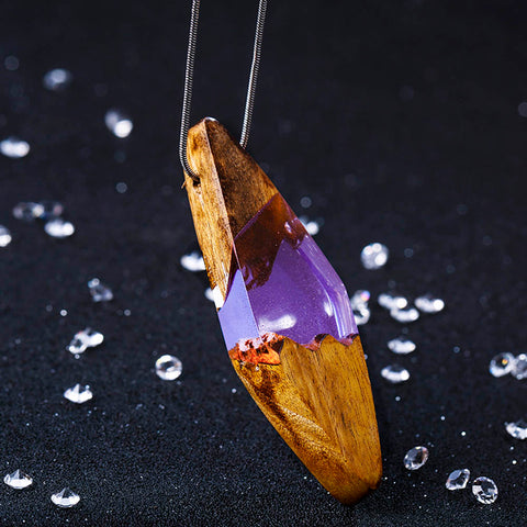 Image of Wood Resin Fashion Pendant Necklace