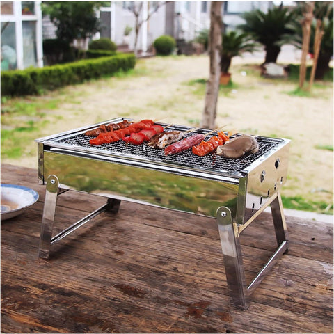 Image of Portable Grill Rack Stainless Steel Stove Pan Outdoor Roaster Outdoor Charcoal Barbecue Home Oven Set Cooking Picnic BBQ Camping