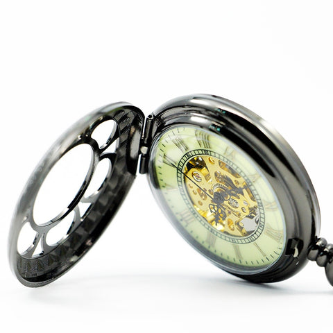 Retro Black Steampunk Mechanical Pocket Watch
