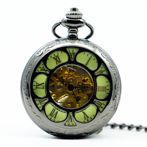 Image of Retro Black Steampunk Mechanical Pocket Watch