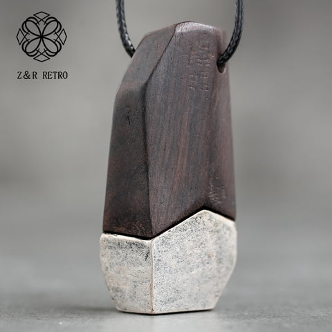 Image of Wooden Carved Rope Necklace