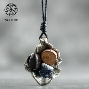 Stone Wood Pendant Necklace
