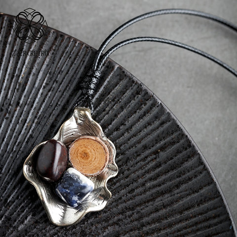 Image of Stone Wood Pendant Necklace