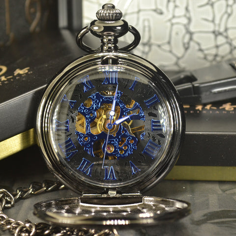 Image of Blue Steampunk Mechanical Pocket Watch