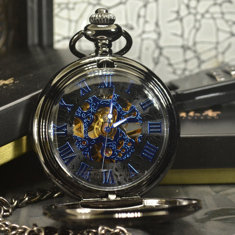 Blue Steampunk Mechanical Pocket Watch