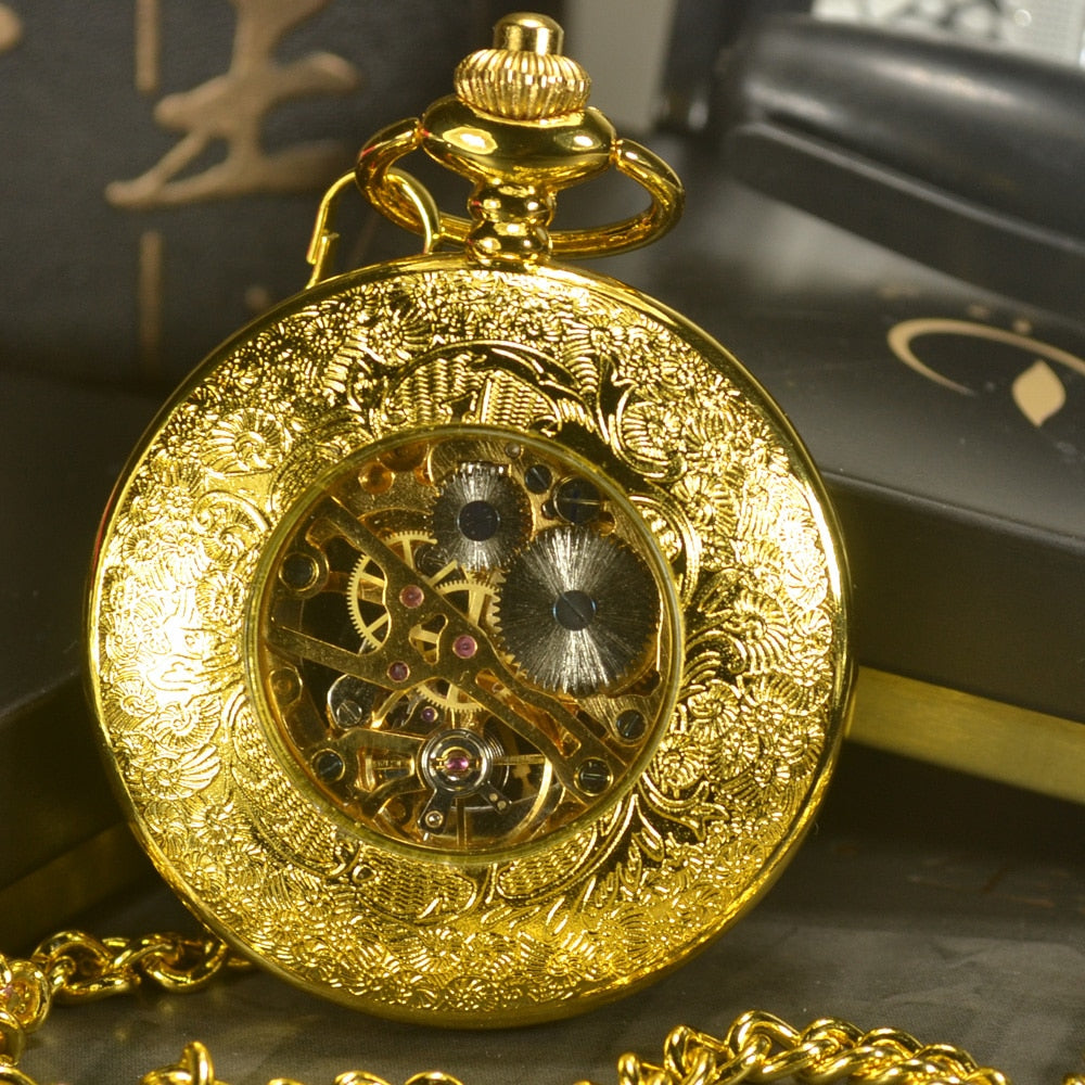 Steampunk Skeleton Mechanical Pocket  Watch