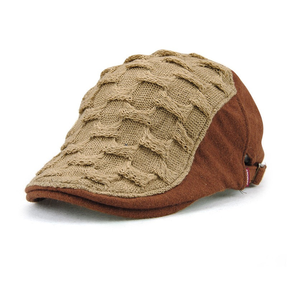 Woven Knitted Wool Newsboy Caps Beret Duckbill Hat