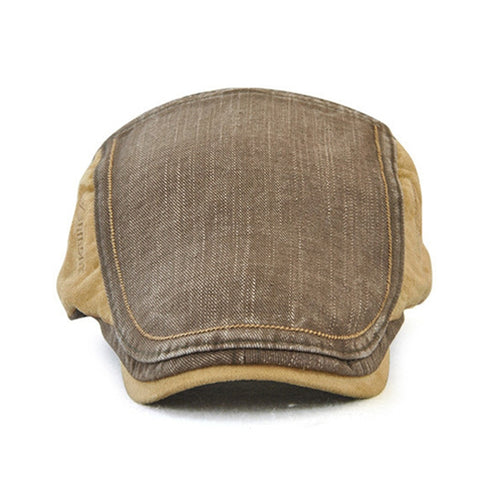 Image of Unisex Cotton Patchwork Newsboy Cap Retro British Style Beret Hat