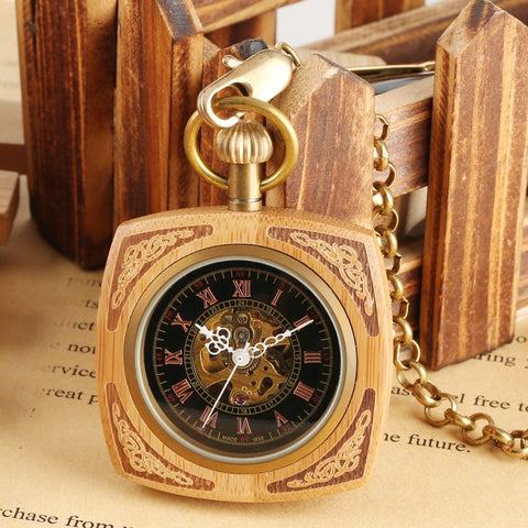 Image of Vintage Automatic Pocket Watch in Royal Red Wood or Bamboo Wood