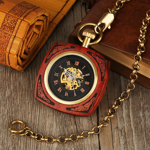 Vintage Automatic Pocket Watch in Royal Red Wood or Bamboo Wood