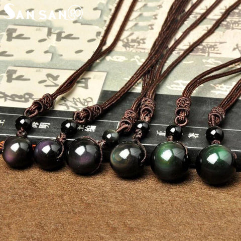 Image of Vintage Obsidian Stone Necklace