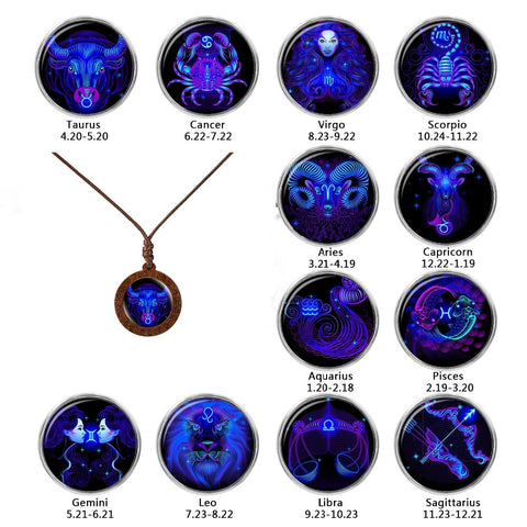 Image of 12 Constellations Glass and Wood Necklace
