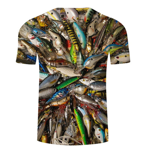 Image of 3D FISH Casual Short Sleeve Printed T-Shirt Size S-4XL, Color - TXKH430