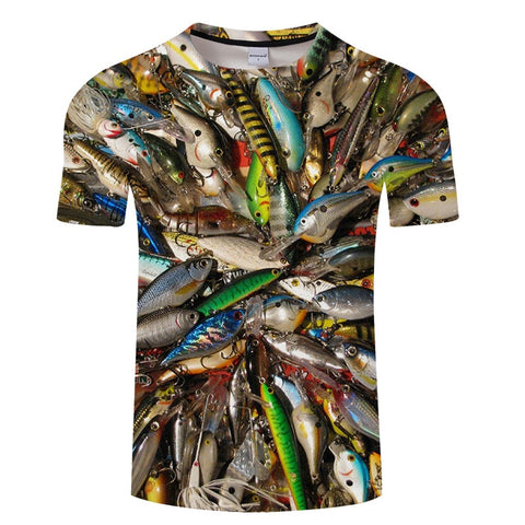 3D FISH Casual Short Sleeve Printed T-Shirt Size S-4XL, Color - TXKH430