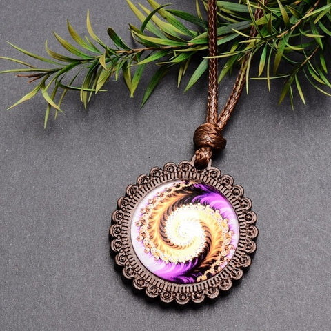 Image of Wood and Glass Pendant Necklace with Adjustable Wax Rope