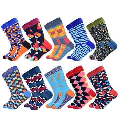 Men Casual Striped Business Happy Cotton Colorful Socks - 5 pair or 10 pair