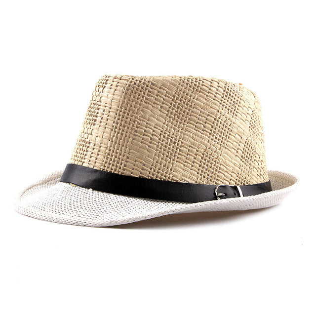 Fibonacci New Summer Fedoras Manhattan Structured Gangster Straw Hat for Men and Women