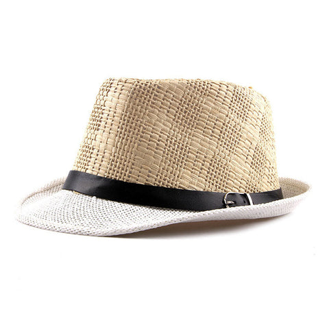 Image of Fibonacci New Summer Fedoras Manhattan Structured Gangster Straw Hat for Men and Women