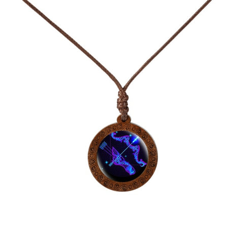 12 Constellations Glass and Wood Necklace