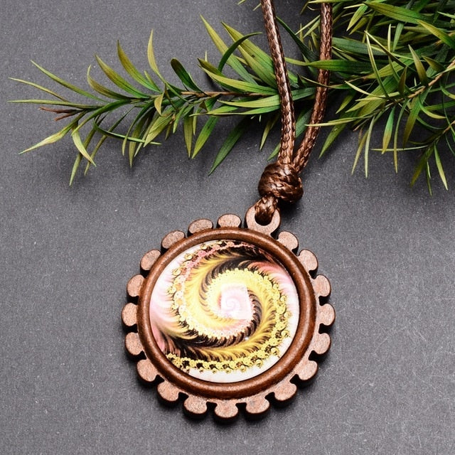Wood and Glass Pendant Necklace with Adjustable Wax Rope
