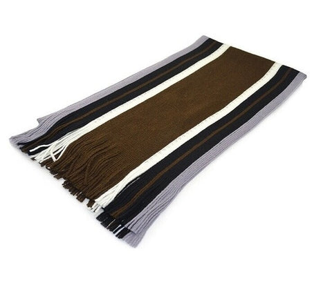 Classic Winter Fringe Striped Tassel Scarf