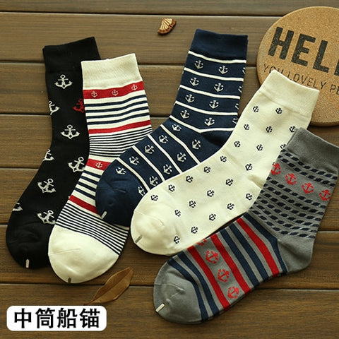 Cotton Stripe Casual Socks