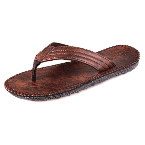 Genuine Leather Flip Flops Non-Slide Shoes