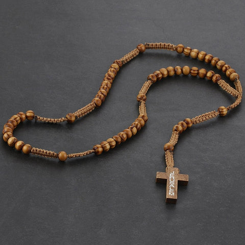 Image of Catholic Wooden Cross Necklace