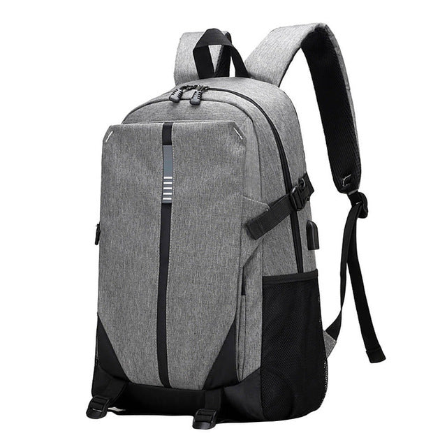 Canvas Backpack Laptop Bag USB Charging Rucksack in Black Gray Purple Blue