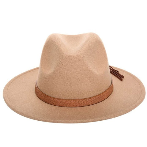 Wool Leather Bone Jazz Elegant Vintage Hat