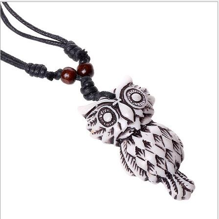 Bull Horn and Owl Wood Resin Bead Necklace